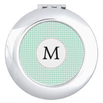 Personalized Monogram Mint Houndstooth Pattern Vanity Mirror
