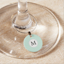 Personalized Monogram Mint Houndstooth Pattern Wine Glass Charm