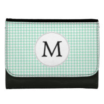 Personalized Monogram Mint Houndstooth Pattern Women's Wallets