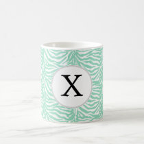 Personalized Monogram Mint Zebra Stripes pattern Coffee Mug