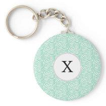 Personalized Monogram Mint Zebra Stripes pattern Keychain