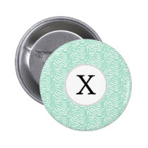 Personalized Monogram Mint Zebra Stripes pattern Pinback Button