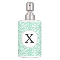 Personalized Monogram Mint Zebra Stripes pattern Soap Dispenser & Toothbrush Holder