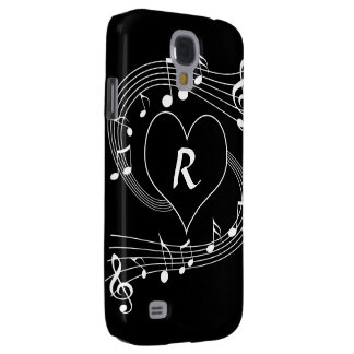 Personalized Monogram Musical notes heart Galaxy S4 Cover