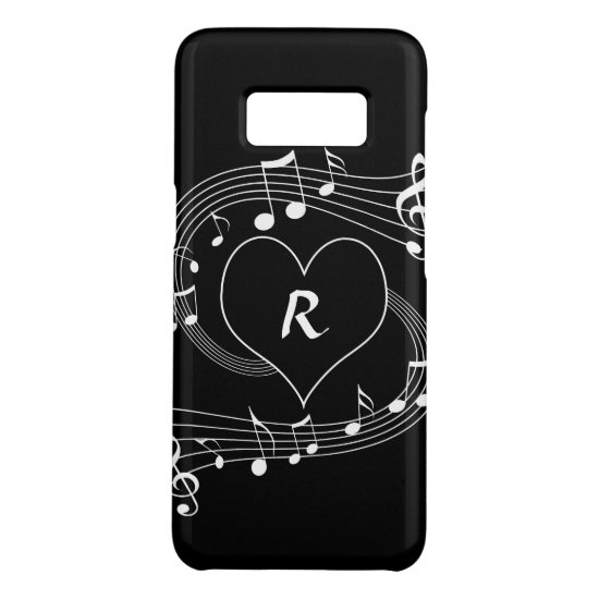 Personalized Monogram Musical notes heart Case-Mate Samsung Galaxy S8 Case