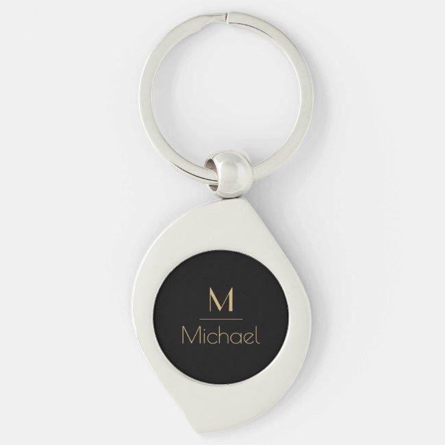 Personalized Monogram   Name Black & Gold Keychain