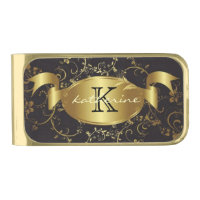 Personalized Monogram Name Gold Black Floral Gold Finish Money Clip