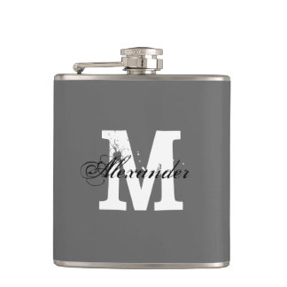 Personalized monogram name initial drink flask