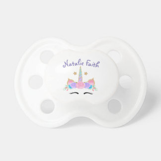 Personalized Monogram Name Watercolor Unicorn Baby Pacifier