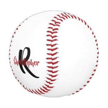 Personalized Monogram Name White Baseball