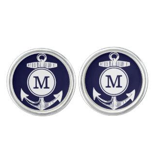Personalized Monogram Nautical Navy Anchor Pattern Cufflinks