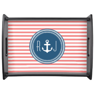 Personalized Monogram Navy and Coral Nautical Service Tray