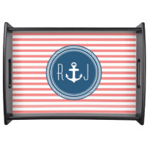 Personalized Monogram Navy and Coral Nautical Serving Tray