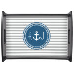 Personalized Monogram Navy and Gray Nautical Serving Tray