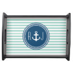 Personalized Monogram Navy and Seafoam Nautical Serving Trays