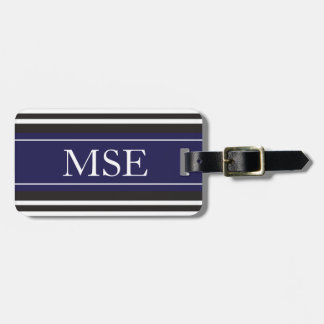 Personalized Monogram Navy Black Stripes Pattern Tag For Luggage