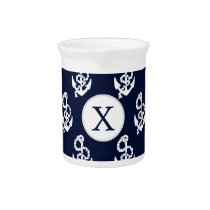 Personalized Monogram Navy Blue Anchor Nautical Beverage Pitcher