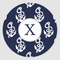 Personalized Monogram Navy Blue Anchor Nautical Classic Round Sticker
