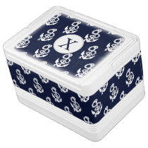 Personalized Monogram Navy Blue Anchor Nautical Cooler