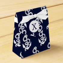 Personalized Monogram Navy Blue Anchor Nautical Favor Box