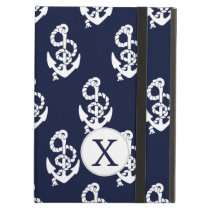 Personalized Monogram Navy Blue Anchor Nautical iPad Air Cases