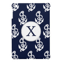 Personalized Monogram Navy Blue Anchor Nautical iPad Mini Cover