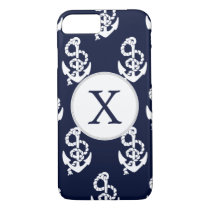 Personalized Monogram Navy Blue Anchor Nautical iPhone 7 Case