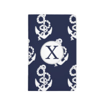 Personalized Monogram Navy Blue Anchor Nautical Journal