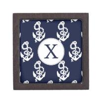 Personalized Monogram Navy Blue Anchor Nautical Keepsake Box