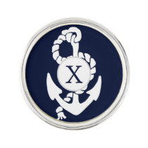 Personalized Monogram Navy Blue Anchor Nautical Lapel Pin