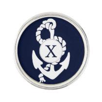 Personalized Monogram Navy Blue Anchor Nautical Lapel Pin