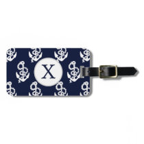 Personalized Monogram Navy Blue Anchor Nautical Luggage Tag