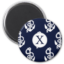 Personalized Monogram Navy Blue Anchor Nautical Magnet
