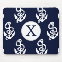 Personalized Monogram Navy Blue Anchor Nautical Mouse Pad