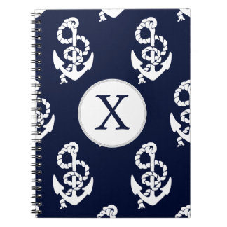 Personalized Monogram Navy Blue Anchor Nautical Notebook