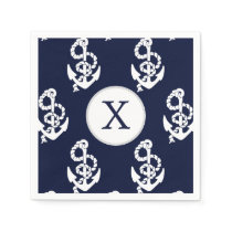 Personalized Monogram Navy Blue Anchor Nautical Paper Napkin