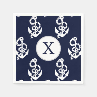 Personalized Monogram Navy Blue Anchor Nautical Paper Napkin