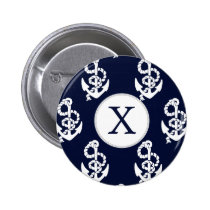 Personalized Monogram Navy Blue Anchor Nautical Pinback Button