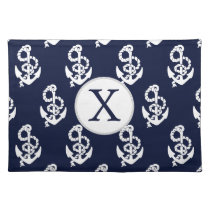 Personalized Monogram Navy Blue Anchor Nautical Placemat