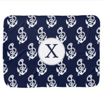 Personalized Monogram Navy Blue Anchor Nautical Receiving Blanket