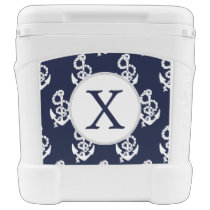 Personalized Monogram Navy Blue Anchor Nautical Rolling Cooler