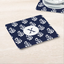 Personalized Monogram Navy Blue Anchor Nautical Square Paper Coaster