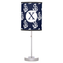Personalized Monogram Navy Blue Anchor Nautical Table Lamp