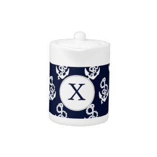 Personalized Monogram Navy Blue Anchor Nautical Teapot