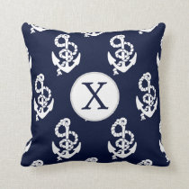 Personalized Monogram Navy Blue Anchor Nautical Throw Pillow