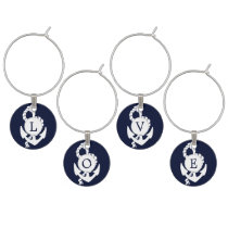 Personalized Monogram Navy Blue Anchor Nautical Wine Charm