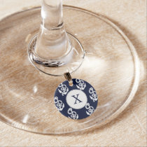 Personalized Monogram Navy Blue Anchor Nautical Wine Glass Charm