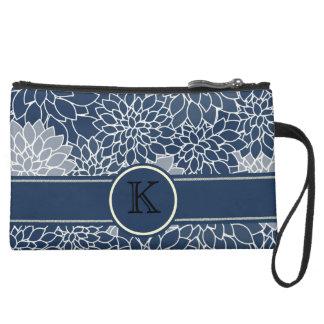 Personalized Monogram Navy Blue Floral Pattern Suede Wristlet Wallet