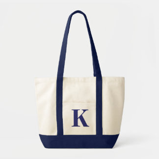 Personalized Monogram NAVY BLUE + NATURAL TOTE