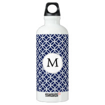 Personalized Monogram navy blue rings pattern Aluminum Water Bottle